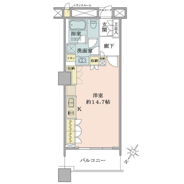 ブリリアマーレ有明タワー&ガーデンの間取図/6F/3,950万円/1R/40.98 m²