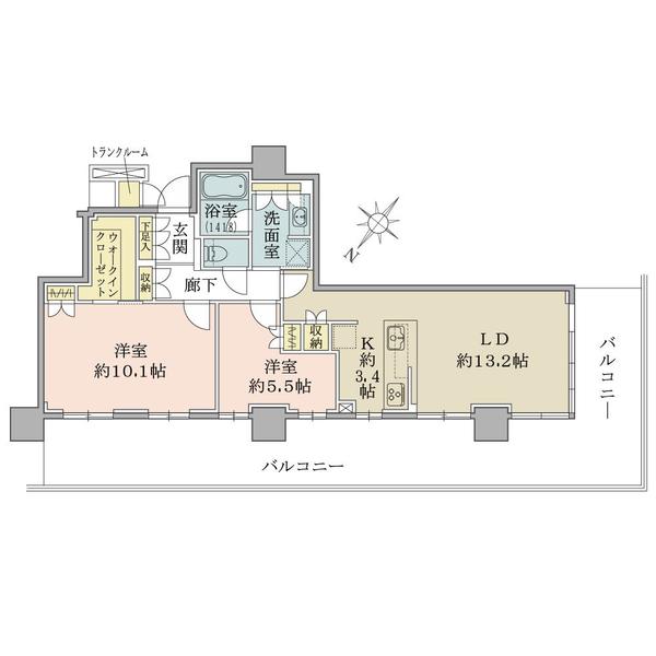 ブリリア有明シティタワーの間取図/26F/9,500万円/2LDK+WIC/75.91 m²