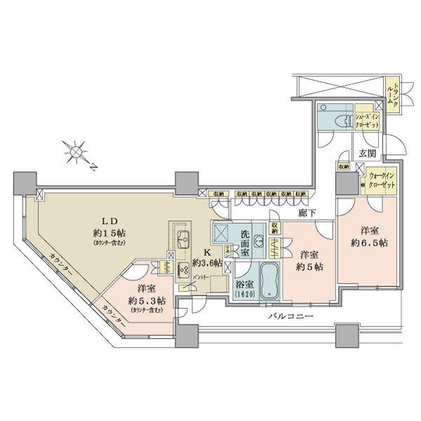 ブリリア有明スカイタワーの間取図/14F/7,280万円/3LDK/87.99 m²