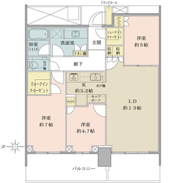 ベイズ タワー&ガーデンの間取図/15F/6,780万円/3LDK+WIC+SIC/76.85 m²