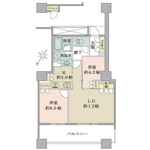 ブリリア有明スカイタワーの間取図/22F/4,930万円/2LDK/60 m²