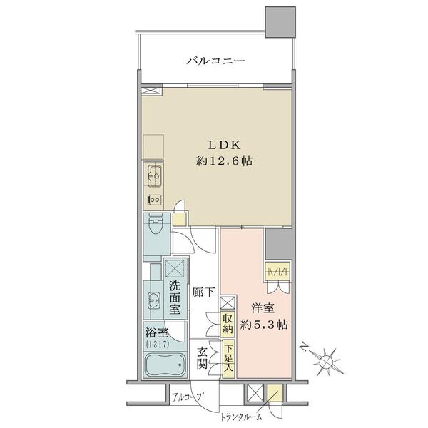 ブリリアマーレ有明の間取図/10F/3,880万円/1LDK/45.88 m²