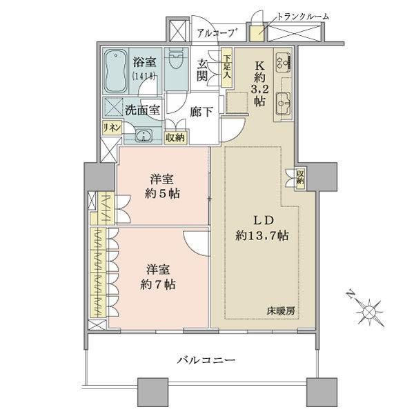 ブリリアマーレ有明タワー&ガーデンの間取図/15F/5,680万円/2LDK/65.82 m²