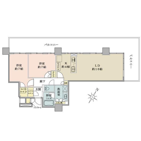 ブリリア有明シティタワーの間取図/25F/8,500万円/2LDK+wic+sic/75.91 m²