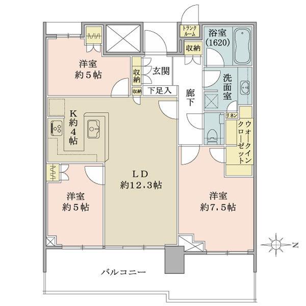 ベイズ タワー&ガーデンの間取図/17F/7,550万円/3LDK/79.21 m²