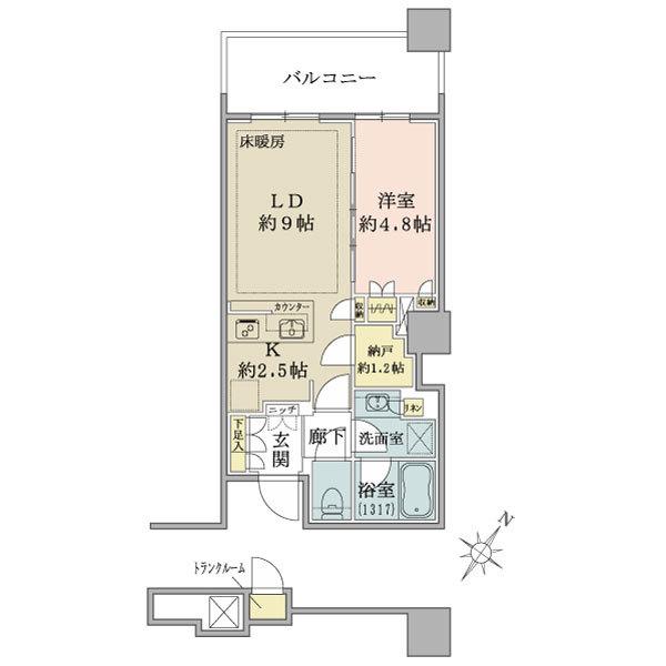 ブリリア有明スカイタワーの間取図/8F/4,180万円/1LDK/42.38 m²