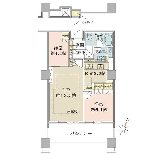 ブリリア有明スカイタワーの間取図/2F/4,850万円/2LDK/60.03 m²