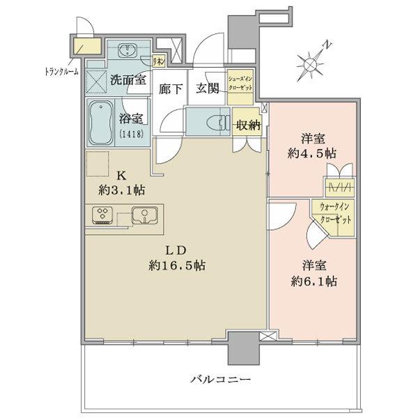ブリリア有明シティタワー の間取図/24F/5,780万円/2LDK/65.88 m²