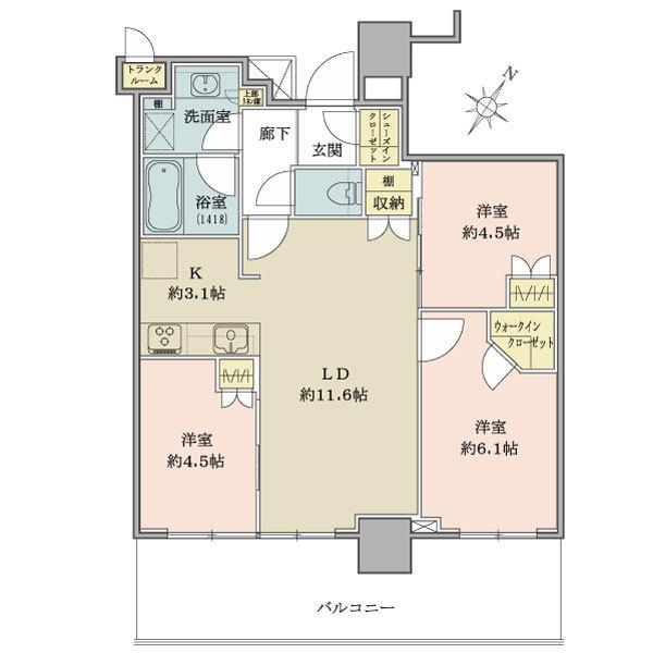 ブリリア有明シティタワーの間取図/8F/5,280万円/3LDK+wic+sic/65.88 m²