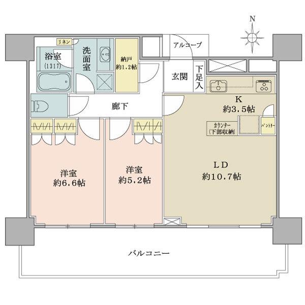ブリリア タワー品川シーサイドの間取図/13F/3,850万円/2LDK+N/62.29 m²