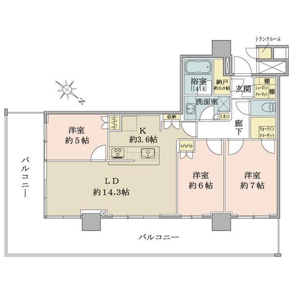 ブリリア有明シティタワーの間取図/22F/7,250万円/3LDK/78.91 m²