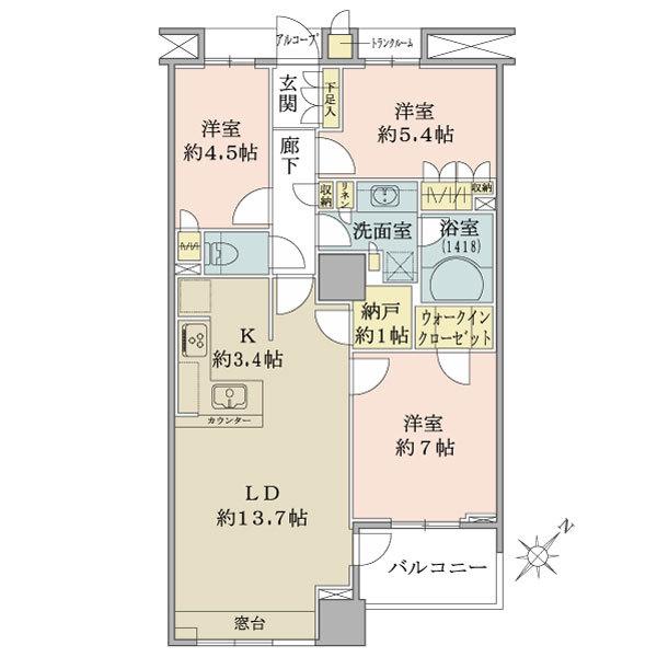 ブリリア マーレ有明の間取図/21F/6,300万円/3LDK+WIC/76.33 m²