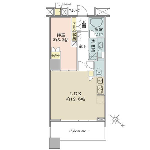 ブリリアマーレ有明の間取図/8F/3,980万円/1LDK/45.88 m²