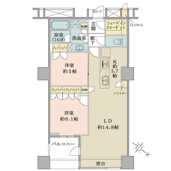 ブリリアマーレ有明タワー&ガーデンの間取図/4F/4,880万円/2LDK/66.11 m²