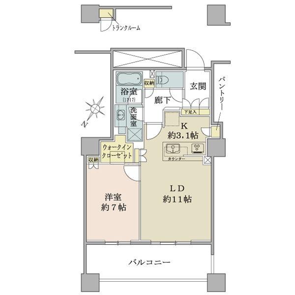 ブリリア有明スカイタワーの間取図/11F/4,580万円/1LDK/53.98 m²
