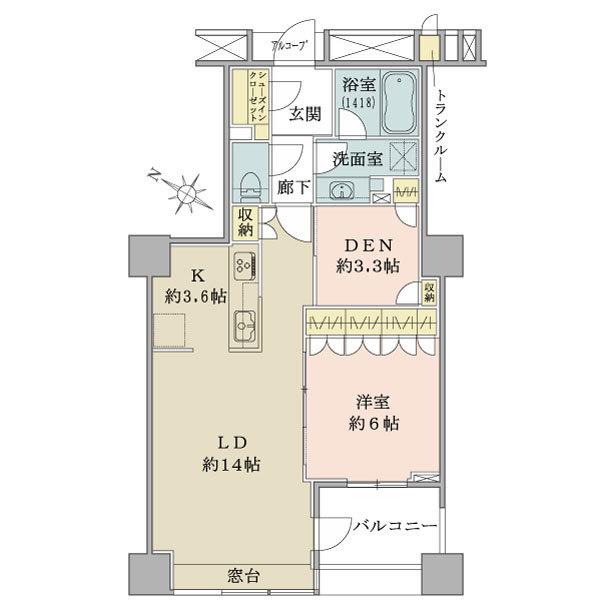 ブリリアマーレ有明の間取図/26F/5,390万円/1LDK+DEN+SIC/61.48 m²