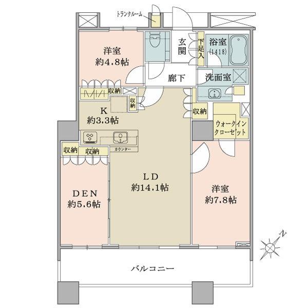ブリリアマーレ有明の間取図/10F/7,080万円/2LDK+DEN+WIC/80.75 m²