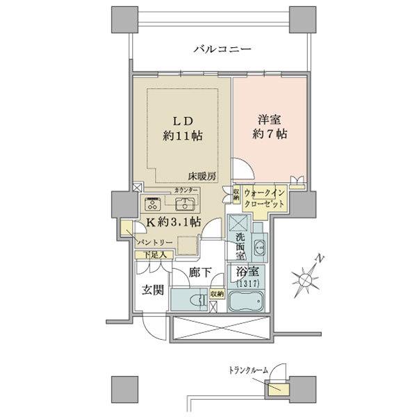 ブリリア有明スカイタワーの間取図/7F/4,390万円/1LDK/53.98 m²