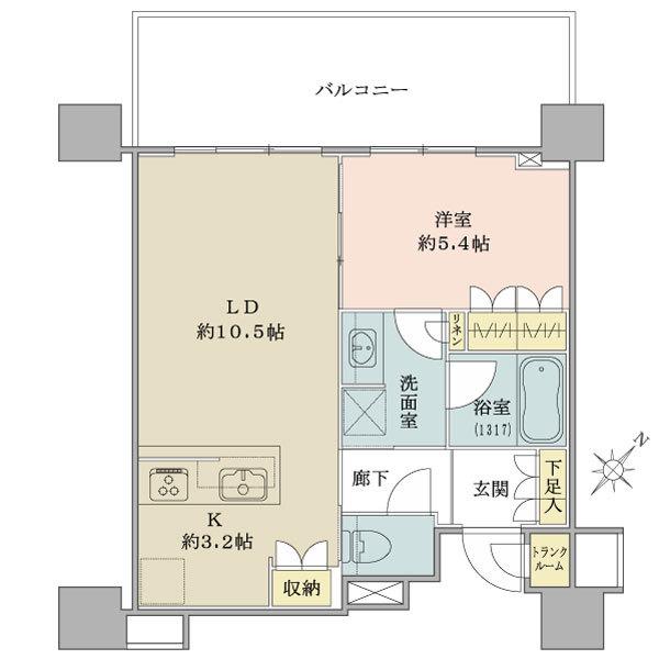 ブリリア有明シティタワーの間取図/9F/4,290万円/1LDK/45.94 m²