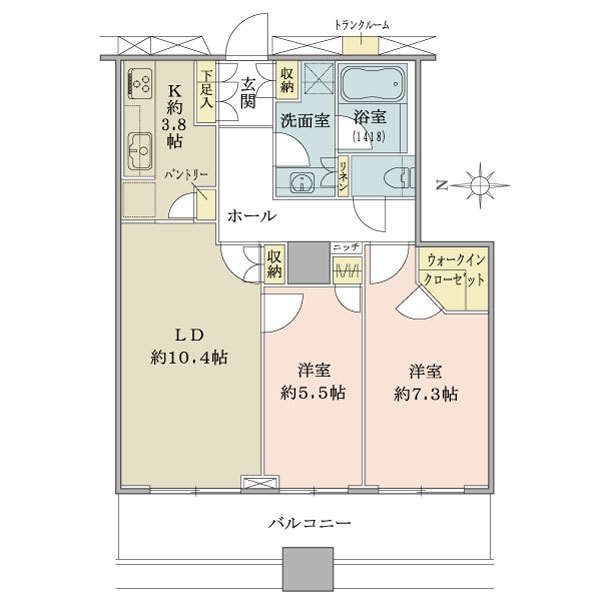 ラグナタワーの間取図/8F/4,980万円/2LDK+WIC/65.32 m²