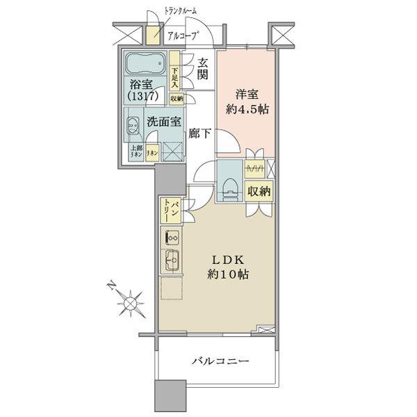 ブリリアマーレ有明タワー&ガーデンの間取図/8F/3,980万円/1LDK/40.8 m²