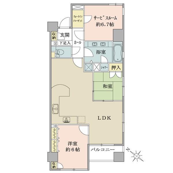 *13階建4階部分 *2LDK+S+WIC *南西角住戸 *日照・通風良好