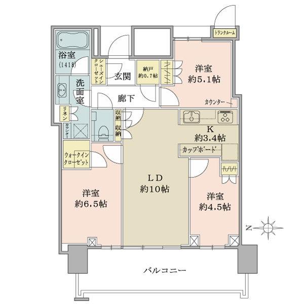 ベイズ タワー&ガーデンの間取図/5F/6,250万円/3LDK/68.28 m²