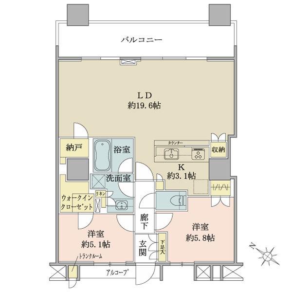 ブリリアマーレ有明 の間取図/29F/7,300万円/2LDK+WIC+N/75.54 m²