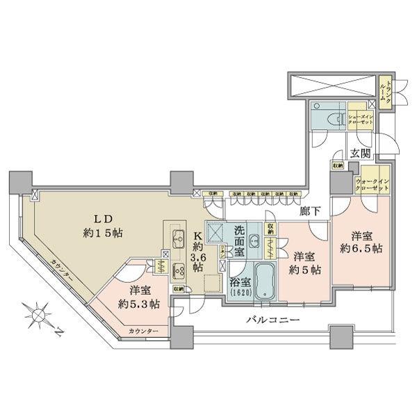 ブリリア有明スカイタワーの間取図/25F/7,380万円/3LDK/87.99 m²