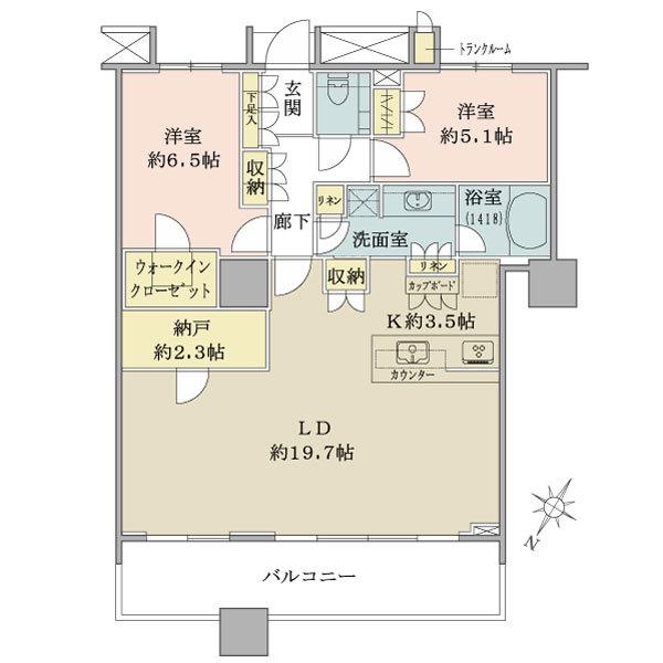 ブリリア マーレ有明の間取図/8F/7,380万円/2LDK+WIC/83.39 m²