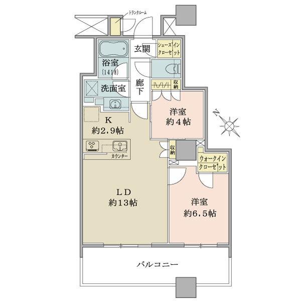 ブリリア有明スカイタワーの間取図/4F/4,980万円/2LDK+WIC+SIC/61.17 m²