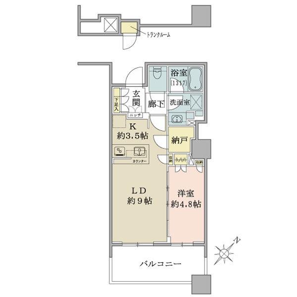 ブリリア有明スカイタワーの間取図/7F/3,880万円/1LDK/42.33 m²