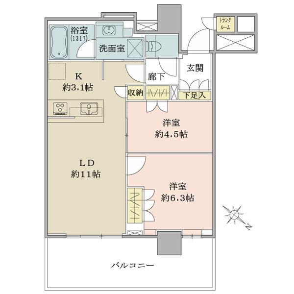 ブリリア有明シティタワーの間取図/11F/4,850万円/2LDK/55.92 m²