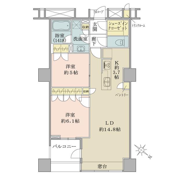 ブリリアマーレ有明タワー&ガーデンの間取図/18F/5,380万円/2LDK+SIC/66.11 m²