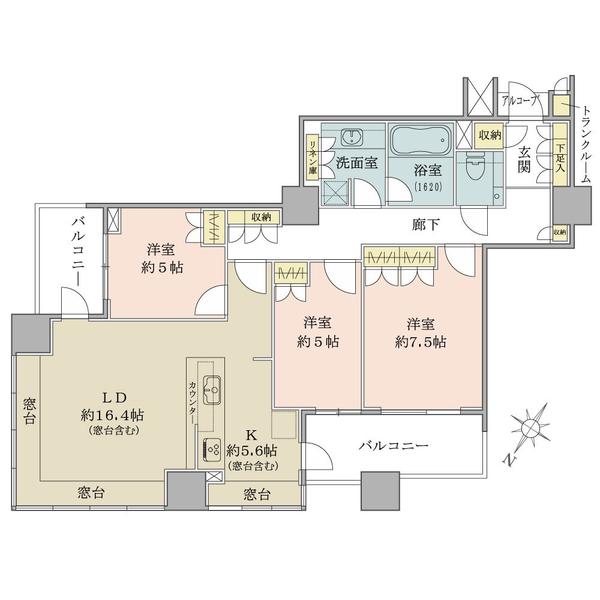 ブリリア マーレ有明の間取図/17F/8,690万円/3LDK/93.1 m²