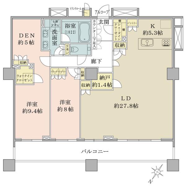 ブリリアマーレ有明 の間取図/31F/14,200万円/2LDK+WIC+N/124.7 m²