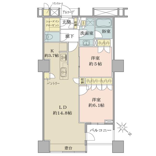 ブリリアマーレ有明タワー&ガーデンの間取図/15F/5,280万円/2LDK/66.11 m²