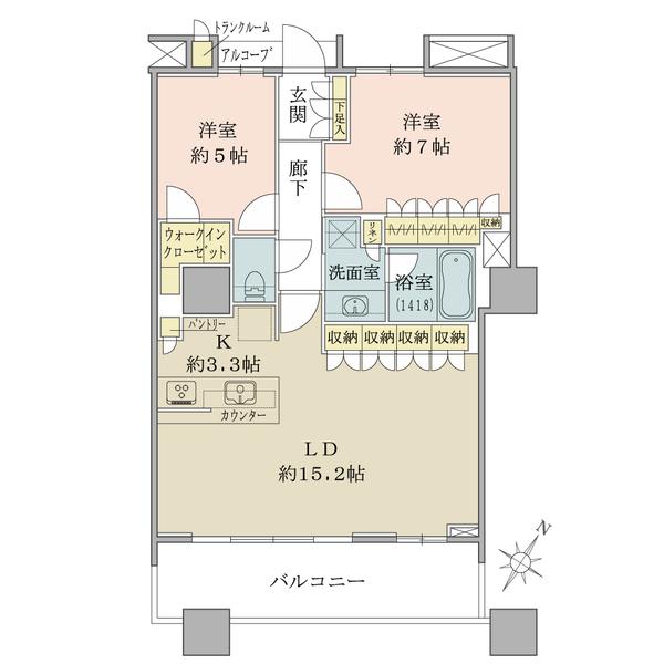ブリリアマーレ有明の間取図/23F/6,480万円/2LDK+WIC/70.91 m²