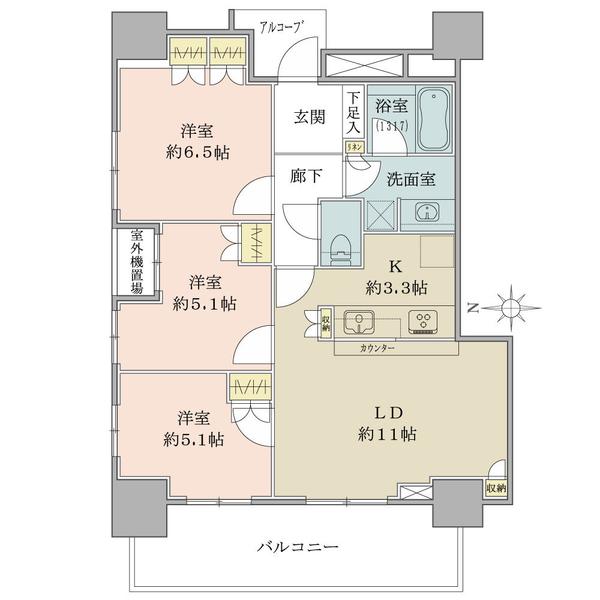 ブリリア タワー品川シーサイドの間取図/13F/4,190万円/3LDK/67.2 m²