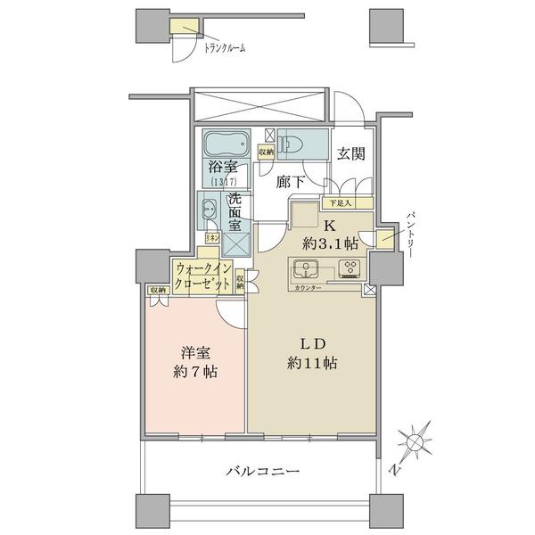 ブリリア有明スカイタワーの間取図/8F/4,590万円/1LDK+WIC/53.98 m²