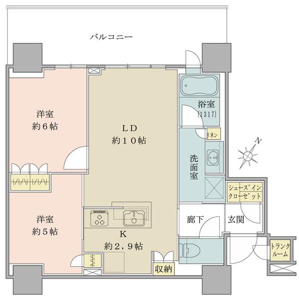 ブリリア有明シティタワーの間取図/12F/4,790万円/2LDK+sic/55.94 m²