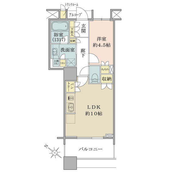 ブリリアマーレ有明の間取図/28F/4,180万円/1LDK/40.8 m²