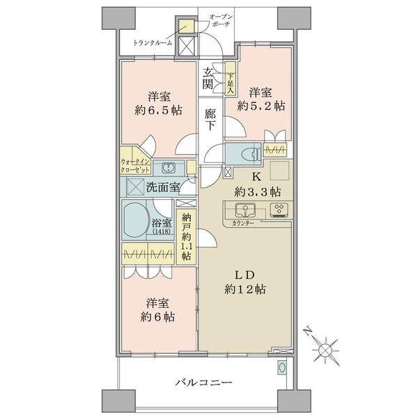 ブリリア大島小松川公園の間取図/16F/4,890万円/3LDK+WIC+N/73.35 m²