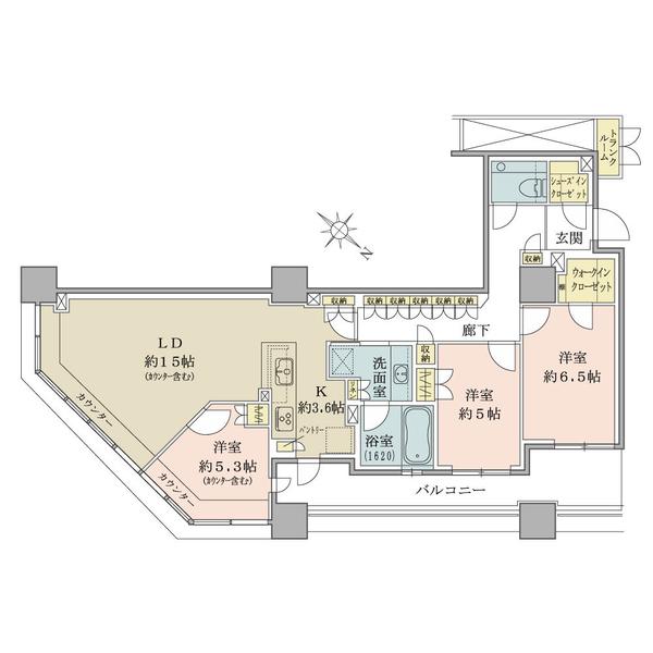 ブリリア有明スカイタワーの間取図/8F/7,250万円/3LDK/87.99 m²