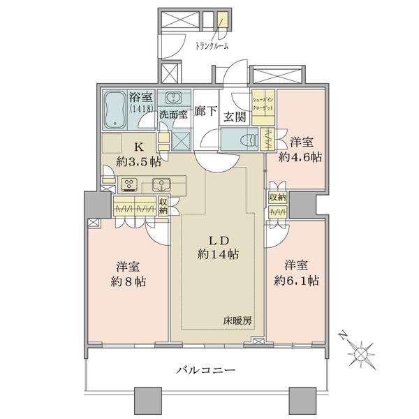 ブリリアマーレ有明タワー&ガーデンの間取図/26F/7,390万円/3LDK/77.39 m²