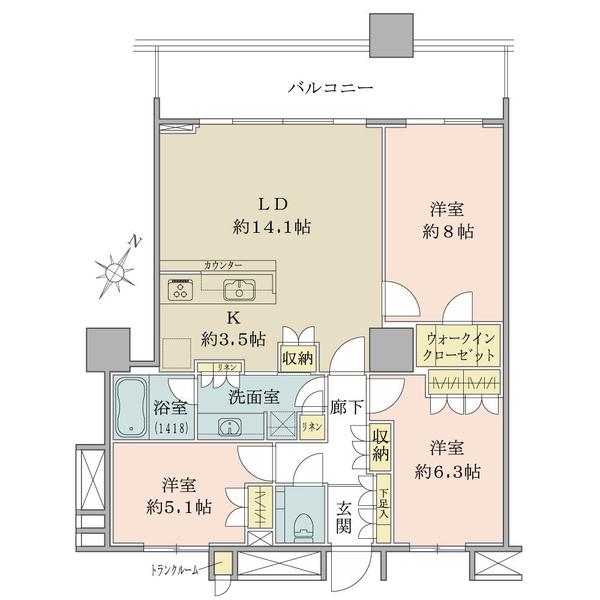 ブリリアマーレ有明の間取図/11F/7,290万円/3LDK+WIC/83.39 m²