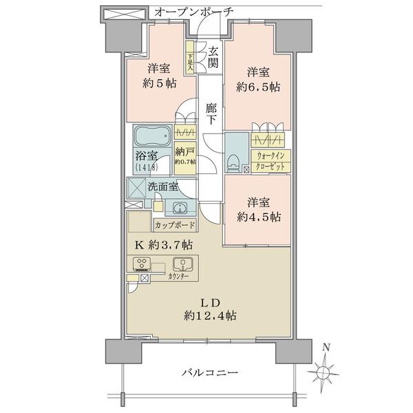 ブリリア辰巳キャナルテラスの間取図/13F/5,100万円/3LDK/73.48 m²