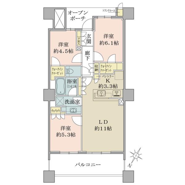 ブリリア有明スカイタワーの間取図/18F/5,880万円/3LDK/68.28 m²