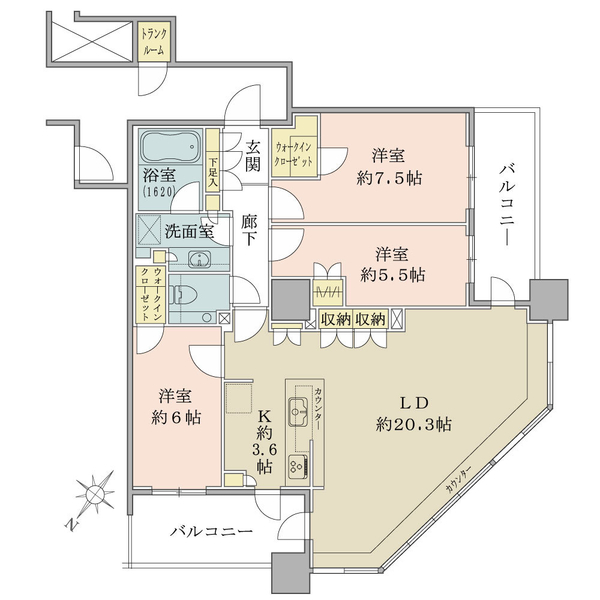 ブリリア有明スカイタワーの間取図/15F/8,499万円/3LDK/93.54 m²