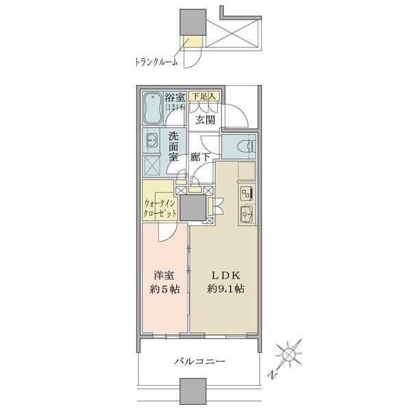 ブリリア 有明スカイタワーの間取図/6F/3,880万円/1LDK+WIC/40.01 m²